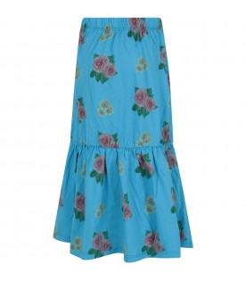Light blue skirt for girl with flowers