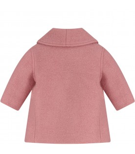 Pink coat with double GG for baby girl