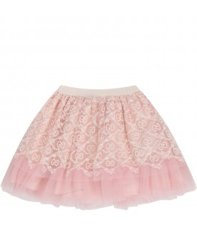 Pink skirt with double GG for baby girl
