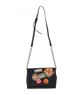Black bag for girl with patches