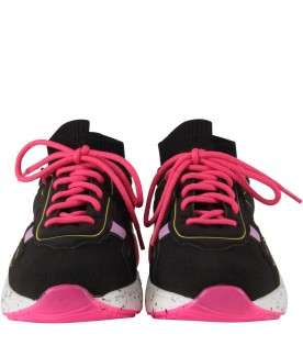 Black sneakers for girl with logo