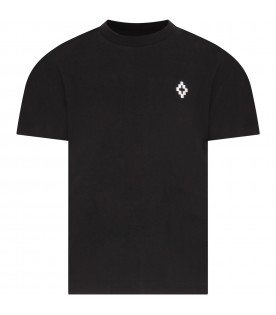 Black T-shirt for boy with white cross