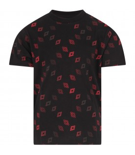 Black T-shirt for boy with red crosses