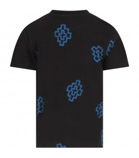 Black T-shirt for boy with crosses