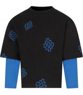 Black sweatshirt for boy with blue cross