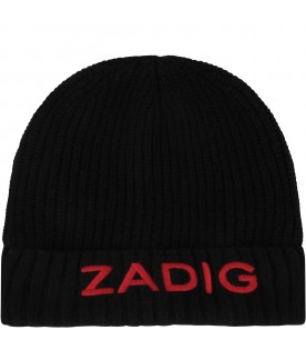 Black hat for girl with red logo