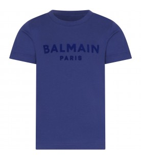 Blue T-shirt with logo for boy