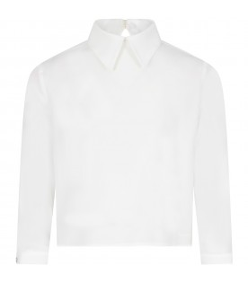 White blouse with logo for girl