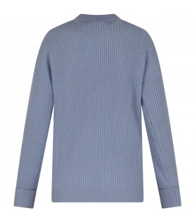 Light blue sweater for girl with logo