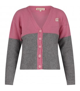 Pink and grey cardigan with logo for girl