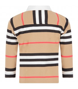 Beige polo for boy shirt with stripes