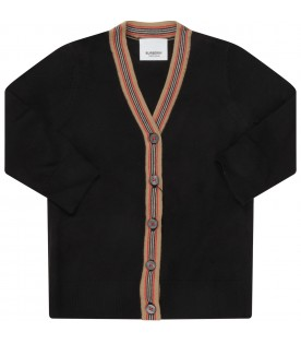 Black cardigan for babykids with iconic stripes