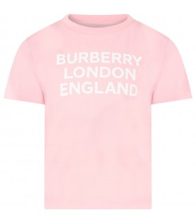 Pink T-shirt for girl with logo