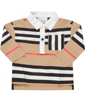 Beige polo for baby boy shirt with stripes
