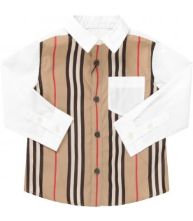 White shirt for boy with stripes