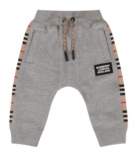 Grey sweatpant for babykids with stripes