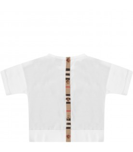 White T-shirt for baby kid with iconic stripes