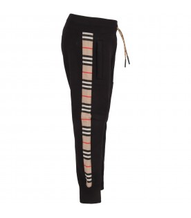Black sweatpant for boy with stripes