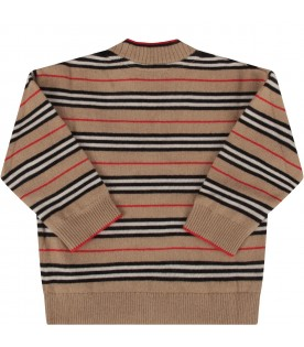 Beige cardigan for babykids with iconic stripes