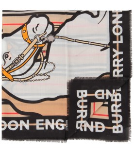 Beige scarf for girl with unicorns