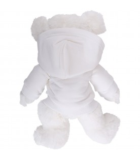 White Teddy Bear for kid with black logo