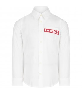 White shirt for boy with red logo
