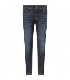 Denim jeans with double FF for boy