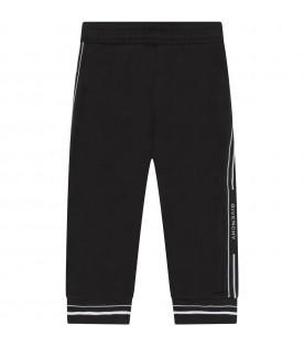 Black sweatpants for babykids with logos