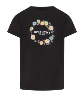Black T-shirt for girl with flowers