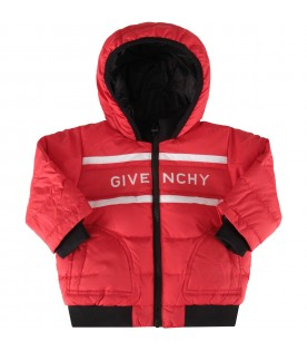 Red jacket for baby boy with logo