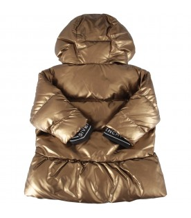 Bronze jacket for baby girl with logo