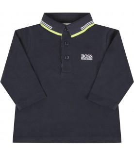 Blue polo shirt for baby boy with logo