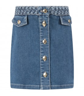 Light blue skirt for girl with logo