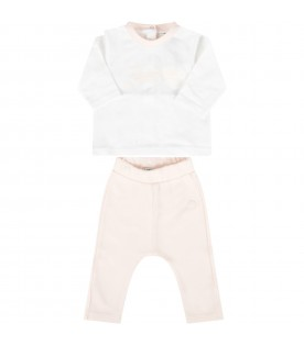 White and pink suit for babygirl with logo