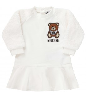 White dress for baby girl with teddy bear