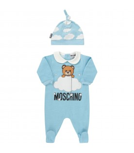 Litht blue and grey suit with teddy bear and clouds for babykid