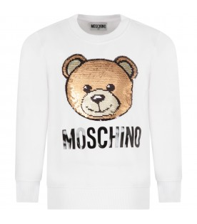 White sweatshirt for girl with sequined teddy bear