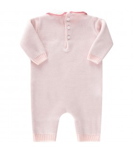 Pink babygrow for baby girl with bear