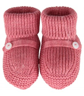 Peony pink baby bootee for babygirl