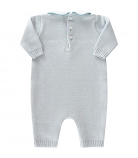 Light blue babygrow for baby boy with bear