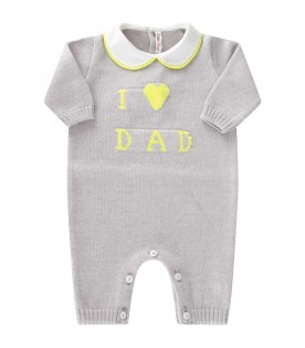 Grey babygrow for babykids with writing