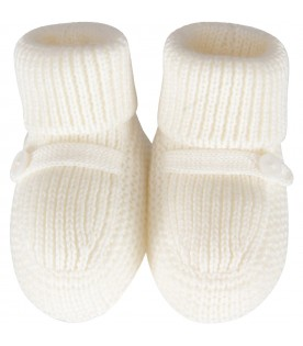 Ivory bootee for baby girl