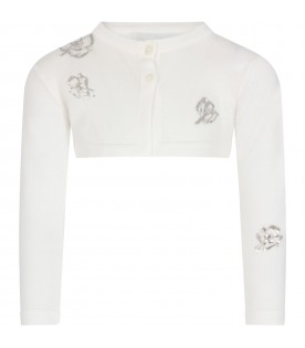 White cardigan for girl with flowers