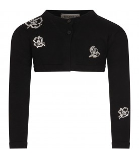 Black cardigan for girl with flowers