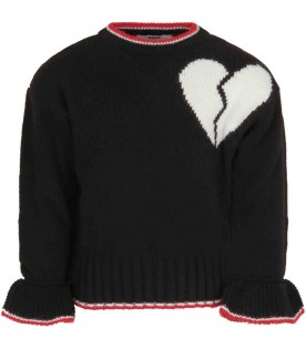 Black sweater for girl with heart