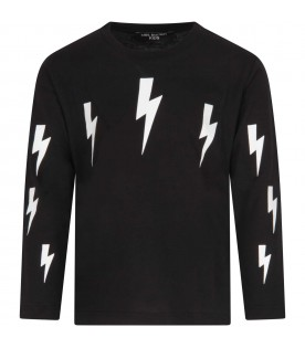 Black T-shirt for boy with thunders