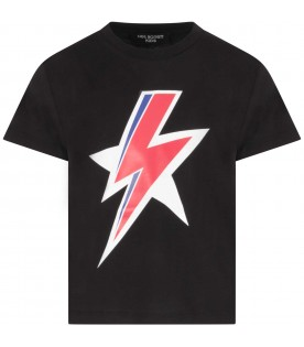 Black T-shirt for boy with thunder