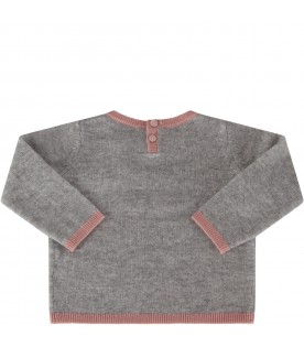 Grey sweater for babygirl with cherries