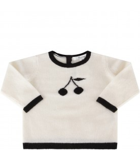 Ivory sweater for babygirl with cherries