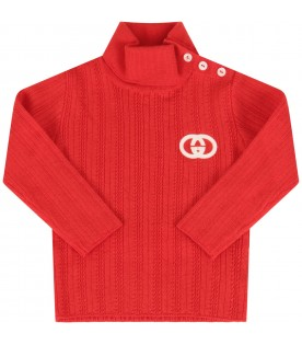 Red turtle neck with double GG for babykids